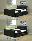 Houston 4ft6 Double 5ft King Size Black Brown 4 Drawers Leather Storage Bed