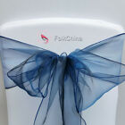 Navy Blue Organza Chair Cover Bow Sash Wedding Decor Banquet WED-OCS-75