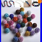 Set of 6 X 10mm Shamballa Crystal Pave Clay Balls Beads Crafts Jewellery Making