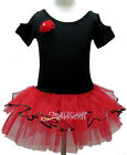 Black Red Flower Girl Fairy Costume Dress Ballet Leotard Tutu Party Skirt 1-9Y