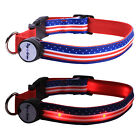 Stars and Stripes Lighted LED Pet Dog Collar - Steady Glow or Flashing Lights
