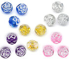 300 Foil Flower Round Acrylic Small Hole Beads 8mm M0183