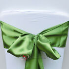 Olive Green Satin Chair Cover Bow Sash Wedding Party Decor Banquet WED-SCS-48