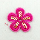 Hot Pink Flower Sequin Iron On Patches 30mm M0246-5