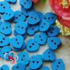 Blue Heart 11mm Wood Buttons Sewing Scrapbooking Cardmaking Craft NCB047-4