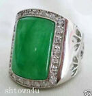 Beautiful Tibet silver Green Jade Men's Rings Size 9-11