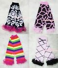 Baby Girls Giraffe, Rainbow, Striped, Polka Dots Legging Leg Warmer with Ruffles