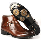 Mens Boots Dress Leather Shoes pull on Buckle Straps Biker Riding Fashion Look N