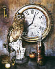 Owl And Clock - CANVAS OR PRINT WALL ART