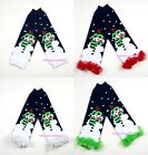 XMAS CHRISTMAS Baby Girls Royal Blue Snowman  Leg Warmer Legging Colorful Ruffle