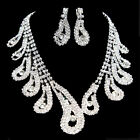 Diamante Crystal Flower Oval Necklace Earring Chain Wedding Bridal Jewellery Set