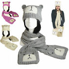 Long Scarf with Pockets Mitts Mittens Gloves Beanie Hat Bear Ears Knitted SET