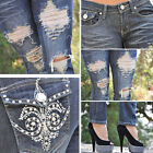 Dark Blue Ripped Skinny Jeans w/ embellished pockets  FAST-FREE SHIPPING 11109JS