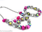 Pink Sparkly Crystal Silver Charm Necklace Set With Earrings Bracelets For Women