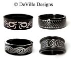 CELTIC SPIRAL KNOTWORK / GLOSSY BLACK STAINLESS STEEL RING / MENS LADIES BAND