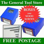 "GENERAL PURPOSE WOOD COUNTERSUNK SCREWS BOX 200 / 100 FROM 1/2"" X4 TO 3 1/2"" X 8"