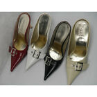 US 5-10 Leather women prom dress shoe pointy toe evening shoes buckle sandals