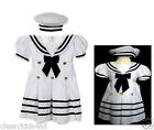 New Baby Girl Toddler Formal Nautical Sailor Dress with Hat New Born- 4T White