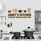 Kitchen Themed Wall Art - Personalised with Name - Kitchen Design Silhouette