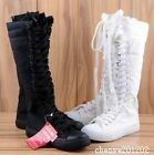 Womens Girl Punk Gothic Black White Canvas Boots Sports Shoes Knee High