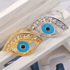 2pcs gold silver tone clear crystal blue evil eye ring adjustable kabbalah
