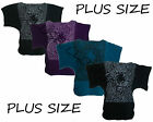54A-PLUS SIZE KNITTED ANIMAL LEOPARD SHORT SLEEVE BATWING RUCHED JUMPER TOP