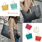 Fashion New Women's Classic PU leather Tote Bag Handbag Black Beige color