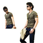 9 Colors Men Short-sleeved T-shirt Tight-fitting V-neck TShirt Tops 5 Sizes B450