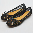 Sexy lace embroidery nude bride ballet flat slip on womens shoes AUS Deal
