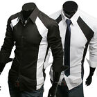 New Mens Cotton Luxury Casual Slim Fit Stylish Solid Color Dress Shirt S M L XL