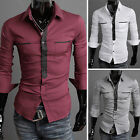 Muscle Mens Designer Luxury Stylish Dress Button Shirts Longsleeve casual Tops