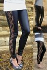 LONG Length WET LOOK INSERT Viscose Leggings BLACK    SIZES 6 - 18