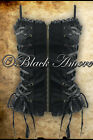 GOTHIC STEAMPUNK BLACK CORSET TOP VICTORIAN LACE CROSS DARK VINTAGE REAR PANEL