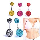 Shamballa Disco Ball Belly Bar / Navel Ring - Choose Colour / Surgical Steel