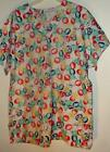 New 2 pocket VNECK scrubs top  65%poly 35%cotton FLORAL PRINT #12  party ballons