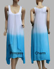 Summer Day Dress Long 70s Hippie Kaftan Style Dyed Blue White Cotton SZ 8 10 12