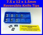 7.5 x 12 x 1.5mm Reversible Knives Solid Carbide Replacement Tips
