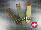 New 22mm Brown Top CANVAS LEATHER STRAP Swiss Army Band Wenger 22