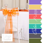"""1/10/25/50 9""""x106"""" Organza Chair Cover Sash Bow Wider Sashs For A Fuller Bow"""