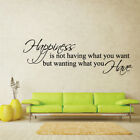 HAPPINESS IS WHAT YOU HAVE quote wall graphic bedroom vinyl sticker
