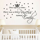 ONCE UPON A TIME PRINCESS personalised wall quote vinyl decal for kids