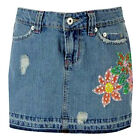 BNWT MISS POSH Short Denim Micro-Mini Jeans-Skirt 8-14 Floral Sequin Summer NEW
