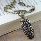 VINTAGE ANTIQUE STYLE VICTORIAN LONG NECKLACE OWL & BRANCHES LONG BRONZE CHAIN