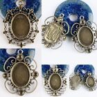 Wholesale Retro Punk Bronze Oval Flower Lace Picture Photo Frame Charms Pendants