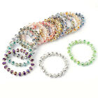 Colorful Faceted Crystal Glass Flower Beads Stretchy Bracelet Bangle Jewelry New