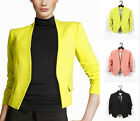 Collarless Draped Sleeves Women Ladies Blazer Suit Jacket Outerwear Candy Colors