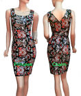 Vintage Style Formal Office Career Pencil Dress Oriental Ethnic Print New