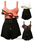 NEW WOMENS FRILL FRONT BELTED PLAYSUIT  CONTRAST RUFFLE SHORTS JUMPSUIT 8-14
