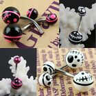 Wholesale Halloween Christmas Night Skull UV Stainless Steel Barbell Navel Rings