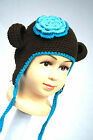 New Baby Gils Fashion Hat Beanie Brown n Blue Flower Knit Crochet Hat Beanie Cap